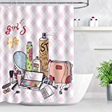 NEWTOO - Cortina de Ducha con diseño de Maquillaje para niñas, Bolsa de pintalabios, Cortina de...