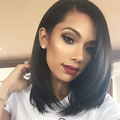 N&T 14' Bob Wigs Short Straight Synthetic Hair Full Wigs for Women Natural Looking Heat Resistant
