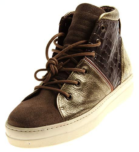 nobrand 42379 Damen High Top Sneaker Lederschuhe Knöchelschuhe Wechselfußbett Brown EU 40