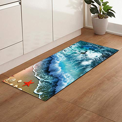 Slipvaste slip, loper tapijten voor wasmachine, kamer, slaapkamer, keuken, woonkamer, hal, moderne print, polyester, machinewas lange tapijten, zeestijl Blue Waves Red Starfish 16 × 48 inch (40 × 120 cm)