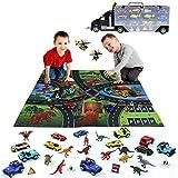 Giocattoli di Dinosauri Camion con 12 Pezzi di Macchinine Giocattolo + 12 Pezzi di Giocattoli di Dinosauro per Bambini Macchinina Giocattolo Giochi Educativi Regalo per Bambino Bambina 3 4 5 6 7 Anni