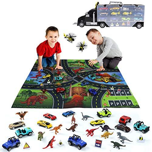 Akokie Dinosaurier Spielzeug Set Groß LKW Autotransporter Fahrzeuge mit Dino Figuren Rennauto Flugzeug Spielmatte Montessori Lernspiele für Kinder Jungen Mädchen ab 3 4 5, 32 Stück