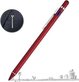 Zspeed スタイラスペン タッチペン 1.45mm極細 スマートフォン タブレット USB充電式 iPhone/iPad/Android/Windows対応 8g超軽量 180 * 9mm (レッド)