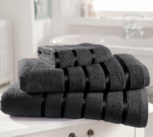 8 piezas Juego de paos de percal de algodn egipcio 600gsm Kensington Extra suave satinada con diseo de rayas (2 x de bao hojas, 2 x toallas de bao y 4 x toalla de mano) gris oscuro
