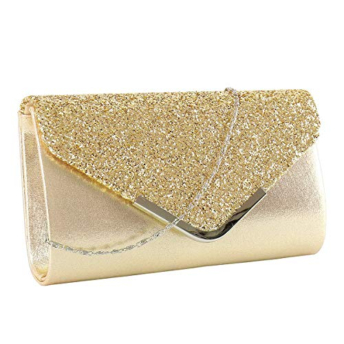 Kadell European And American Fashion Chain Bag Ladies Clutch Bag Evening Party Bag Gold L (Apparel)
