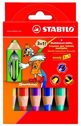 Stabilo woody - Lápiz multitalento 3 en 1, estuche de 6 unidades, incluye 1 paquete de 6 unidades