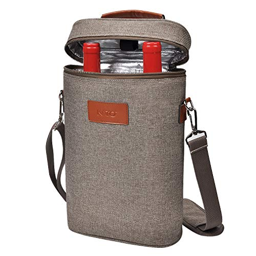 Kato Tirrinia Kühltasche für 2 Flaschen- Flaschenträger für Wein & Bier, gepolsterte 2 weinkühltasche mit isoliert,Griff & Schultergurt, Flaschenkorb für Reise, Picknick, Party