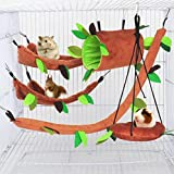 ISMARTEN Hamster Hammock Small Animals Jungle Hanging Warm Bed House Cage Nest Accessories Forest Pattern Cage Toy Leaf Hanging Tunnel and Swing for Sugar Glider Squirrel Hamster (5 Pcs)