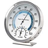 MAVORI® Thermometer Hygrometer innen analog - Luftfeuchtigkeitsmessgerät und Zimmerthermometer aus hochwertigem Edelstahl für eine zuverlässige und komfortable Raumklima Kontrolle