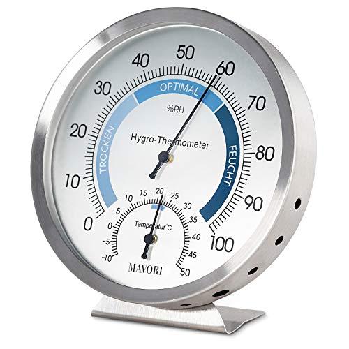 MAVORI® Higrómetro termómetro analógico - Termómetro de Interiores y medidor de Humedad en el Interior de Acero Inoxidable para un Control del Clima Interior fiable y cómodo - Nuevo Modelo