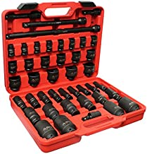 ABN 1/2in Drive SAE Standard Master Deep & Shallow Impact Socket 43-Piece Set 3/8–1-1/2in w/Extension & Swivel Joint