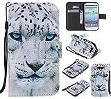 Qiaogle Teléfono Case - Funda de PU Cuero Billetera Clamshell Carcasa Cover para Samsung Galaxy S3 / S3 Neo i9300 (4.8 Pulgadas) - KT17 / Blanco tiger