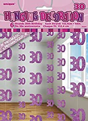 """Pack of 6 Glitz Pink 30th Birthday Hanging Decorations Hanging Pink 30th Party Decorations measure approximately 1.5m (5ft) in length Features shimmering """"30"""" numeral cut-outs linked by shiny metallic thread Ideal for adding sparkle and shine to entr..."""