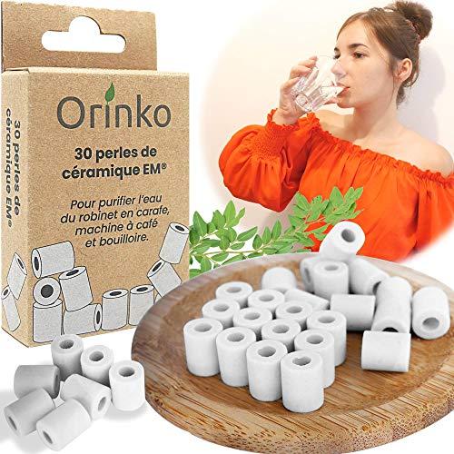 orinko - 30 microesferas de cerámica EM - Mejora la calidad del agua - Reduce la cal - Apto para lavadora y para 2 decantadores, botellas, calabazas, cafetera, hervidores