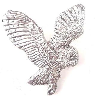 Emblems-Gifts Barbagianni Finemente Artigianale in Peltro Massiccio UK Spilla B01+59mm Distintivo + Borsa Regalo