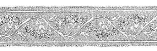 10m Brokat Borte Webband 35mm breit Farbe: Lurex-Silber von 1A-Kurzwaren 35094-si