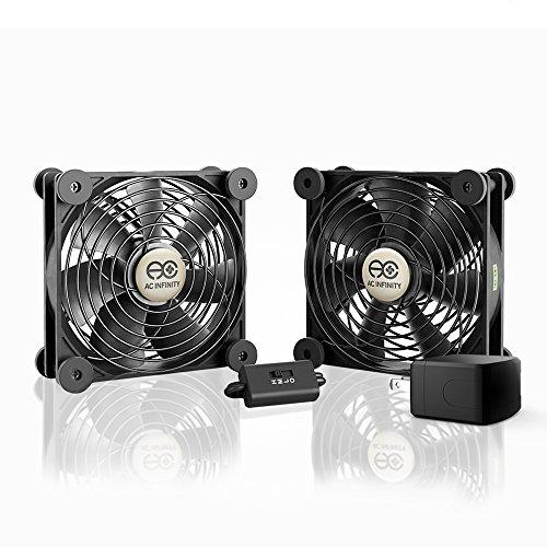 AC Infinity マルチファン S7-P、静音デュアル120mm AC電源ファン スピードコントロール付き UL認定 レシーバー DVR プレイステーション Xboxコンポーネント冷却