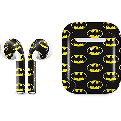 Skinit Decal Audio Skin for Apple AirPods with Wireless Charging Case - Officially Licensed Warner Bros Batman Logo All Over Print Design