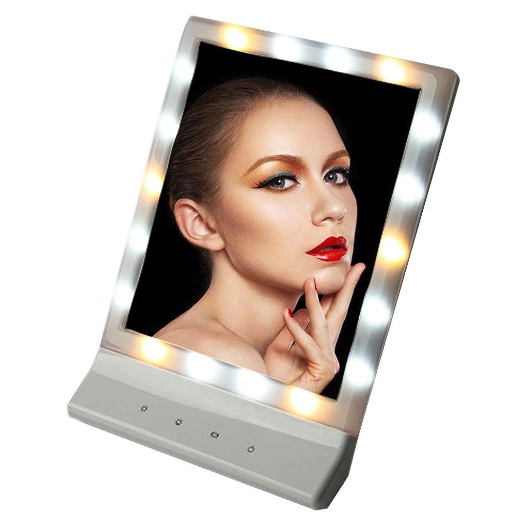蚊凍結タップ化粧鏡USB充電式/バッテリー、 16のLEDが点灯 ウォールマウントバニティミラー カウンタートップ用化粧品寝室 卓上ミラー