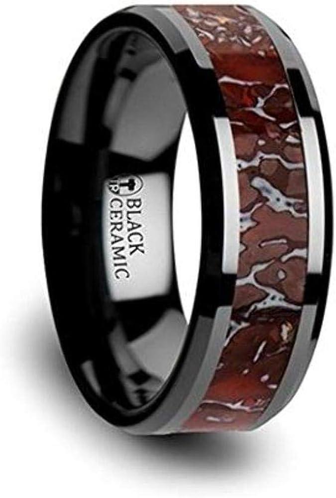TRIASSIC Red and Grey Earthtones Dinosaur Bone Inlay on Black Ceramic Wedding Band Beveled Edged Ring 8mm Custom Personalized Inside Engraved