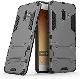 Protective Case Compatible with Samsung 2 in 1 Iron Armour Tough Style Hybrid Dual Layer Armor Defender PC+TPU Protective Hard Case with Stand Shockproof Case Compatible Samsung Galaxy C10 Phone case