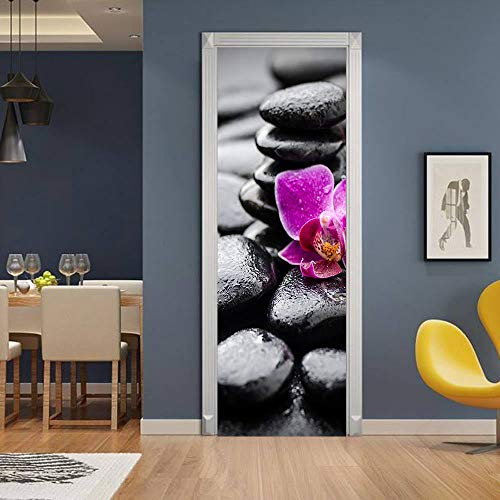 TMANQ Door Stickers 3D Wall Murals Wallpaper For Home Bedroom Decor Diy 77X200Cm Artistic Purple Flower Pebbles Removable Pvc Self-Adhesive Door Decal Poster Decoration Wall Art Stickers