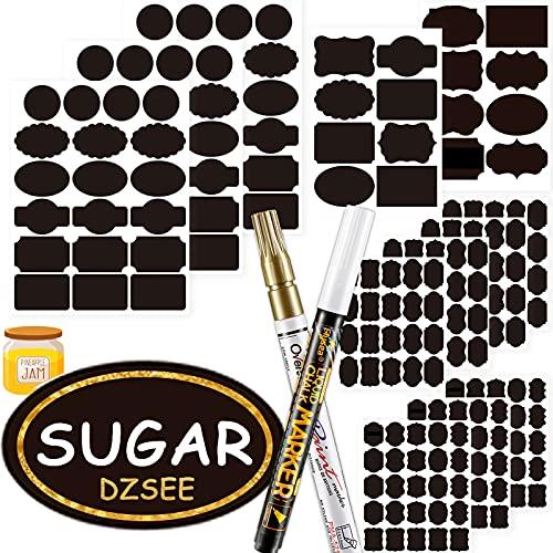 DZSEE 203x Etiquetas Adhesivas + 2 Marcador de Tiza, Pegatina Reutilizable, etiquetas para Frascos, Pegatinas Pizarra para Tarros Borrable, Decorar Tarros, Vino, Despensa, Hogar y Oficina