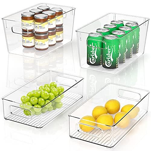 kühlschrank Organizer Stapelbar 4er - 2 Große/2 Mittel, Aufbewahrungsbox Kühlschrank mit Griff, Organizer Küche Vorratsbehälter für Gefriergeräte, Küchenarbeitsplatten und Schränke - BPA Frei