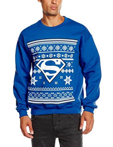 DC Comic Christmas Knit Superman Sweat-Shirt, Bleu (Royal Blue), (Taille Fabricant: Large) Homme
