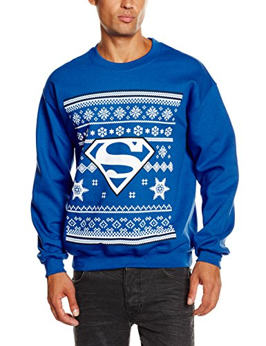 DC Comic Christmas Knit Superman Sweat-Shirt, Bleu (Royal Blue), (Taille Fabricant: Large) Homme