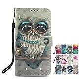LA-Otter Coque pour Huawei P20 Lite Flip Case Paillettes Diamant Housse Etui Hibou...