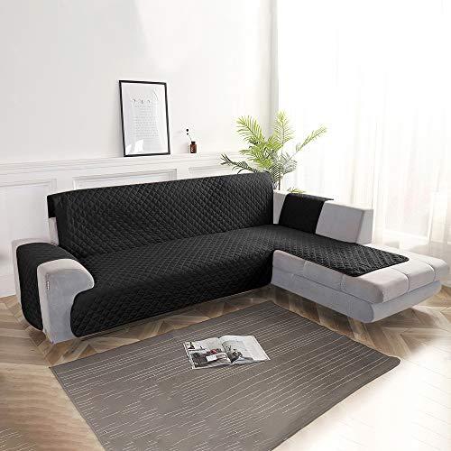 Keyohome Sofaüberwurf für Ecksofa, wasserdicht, für alle Größen, L-Form, wendbar, Ecksofa (200 cm, schwarz)