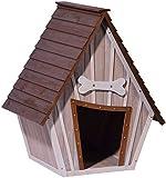 55012 Kennel, XL Casa para perros al aire libre para perros grandes, espacio para una cama para perros, cueva para perros con techo puntiagudo, 90x77x109 cm, cabina de madera 14kg, pisos extraíbles | Color: marrón / gris