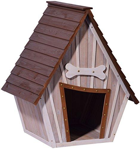 dobar 55012 Hundehütte ,XL Outdoor Hundehaus für große Hunde , Platz für ein Hundebett , Hundehöhle mit Spitzdach , 90x77x109 cm , 14kg Holzhütte , entfernbarer Boden | Farbe: braun/grau