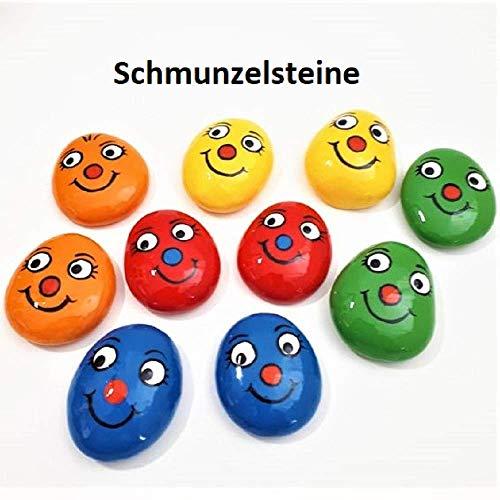 Schmunzelsteine bunt ca. 4 cm. Lachsteine. Bemalte Steine. Handschmeichler.