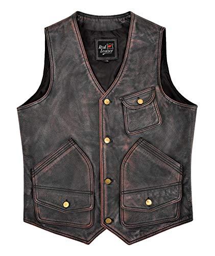 Smart Range Leather Chaleco de Cuero Vintage para Hombre Chaleco de Cazador de Rocas de Cuero de Vaca Real Encerado Rojo Negro 9693 WC (2XL)