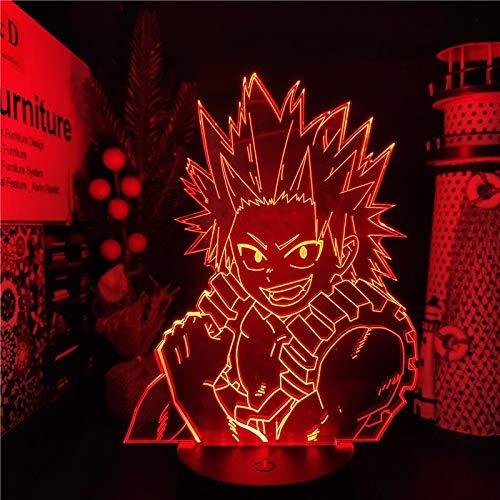 Boku no Hero Academia Kirishima Eijiro ANIME Lights MY HERO ACADEMIA Lámpara de iluminación nocturna LED que cambia de color 3D para decoración del hogar, control remoto de base negra