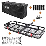 TUFFIOM Hitch Mount Cargo Carrier (60'x20'x6') w/ 100% Waterproof Cargo Bag & Net, Hauling 500 Lbs Capacity Steel Basket, Folding Shank Preserve Space