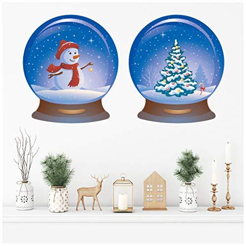 azutura Schneekugel Weihnachtsbaum-Schneemann Wandtattoo Set in 8 Größen erhältlich Digital