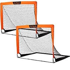 Portable Soccer Goals Set – Great for personal or team play, each set includes two soccer goal nets for practicing, scrimmages, or improving shooting or defense skills. Quick, Pop-Up Design – Designed with flexible, heavy-duty enhanced fiberglass pol...