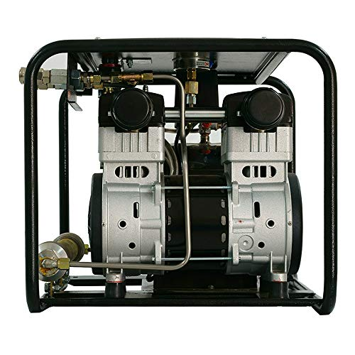 HPDMC Oil-free Hookah Dive System Third Lung Serface, 110V Electronic Compressor with 15m / 50 ft Hose & Regulator/Respirator, SCU80E (1100W)