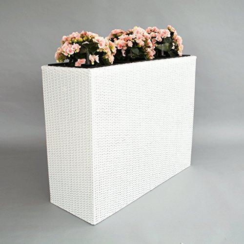 XXXL Pflanztrog Blumentrog Trennelement Polyrattan als Raumteiler LxBxH 82x30x80cm weiß