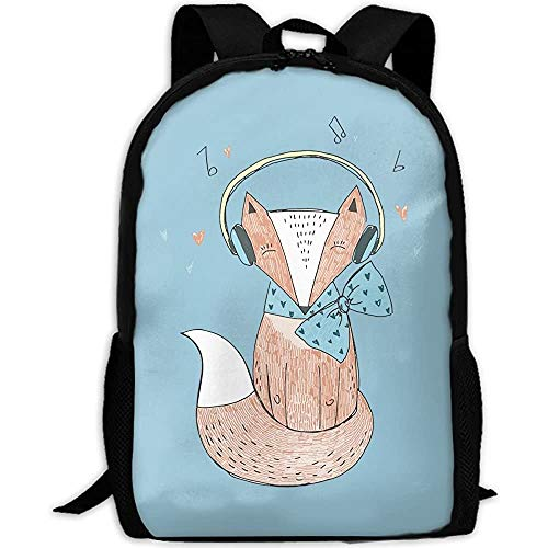 G.H.Y Cartoon Music Fox Adult Travel Backpack School Casual Daypack Oxford Outdoor Laptop Bag College