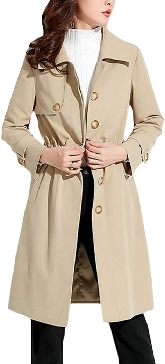 LKCENCA Womens Mid Long Length Single Breasted Lapel Trench Coat Jackets