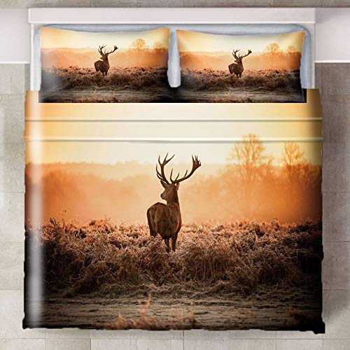 LLPZ Elk Printing Duvet Cover, Soft And Anti-Wrinkle, Hidden Zipper, Three-Piece Bedding