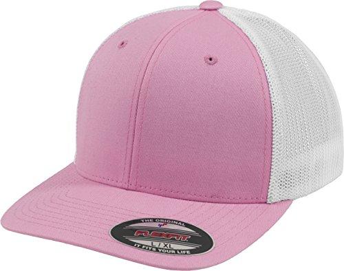 Flexfit Mesh Trucker Cap 2-Tone - Unisex Baseballcap für Damen und Herren, Farbe Pink/White, S/M