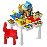 Toddler Activity Table, Kids Table & Chair Set All-in-One Multi Activity Playset Compatible Building Block and Water Table Outdoor Play Sand Table, 140PCS Cottage + 60PCS Large Building Blocks