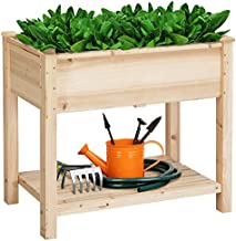 YAHEETECH 34x18x30in Elevated Wood Planter Box Kit with Legs Outdoor for Vegetable/Flower/Herb, Backyard/Patio/Balcony/Greenhouse, 220lb Capacity