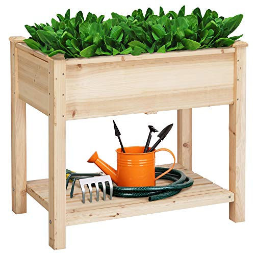 Yaheetech Raised Garden Bed 2 Tiers Wooden Plant Raised Bed Garden Elevated...