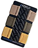 FIDELO Carbon Fiber Minimalist Wallet – Slim RFID Credit Card Holder Money Clip for Men - BAND PACK ONLY (3 Bands - Khaki / Army Green / Mustard) Wallet NOT Included